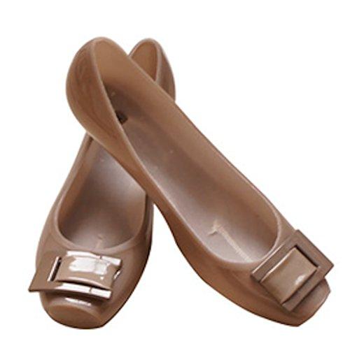 【ROOM28】 完全 防水 バックル レイン パンプス ヒール 3.5cm 晴れの日も使える おしゃれ デザイン ! きれいめ スクエア トウ 通勤 通学 に ぴったり 雨 用 長靴 レディース シューズ 靴 (グレージュ, M 23.5cm)