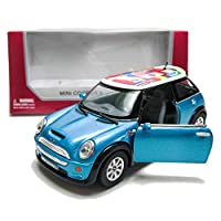 Kinsmart 1:28 Die-CastMini Cooper S InternationalFlag Printing CarMetal Blue Model with Box Collection Christmas New Gift