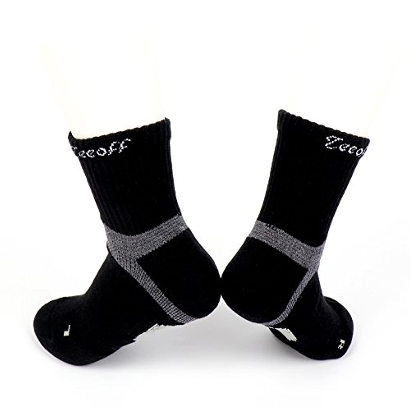 Teeoff Men's LYCRA Sport Sock メンズライクラクッションショックアブソーバー、通気性、アーチ&アンクルサポートスポーツソックス強化