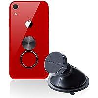 エレコム 車載 スマホホルダー マグネット式【スマホリング付き】 iPhone/Android ゲル吸盤タイプ(補助板付き) ブラック EC-SH02BK