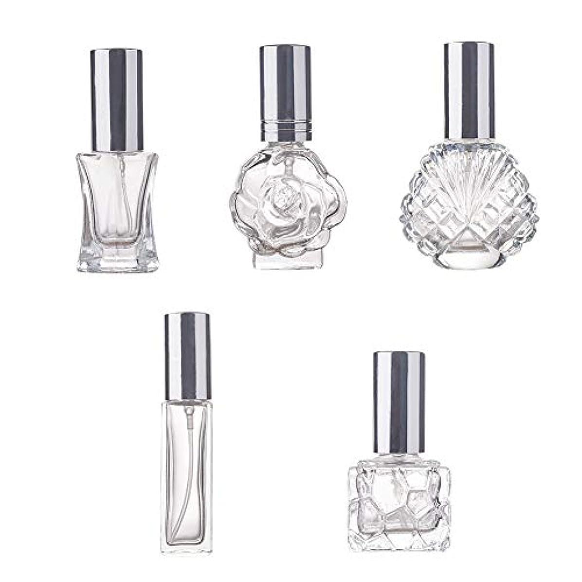 膜麻痺させる幅BENECREAT 5個ガラス香水スプレーボトル 多種の形 極細ミスト 香水 芳香剤 化粧水小分け 詰め替えボトル