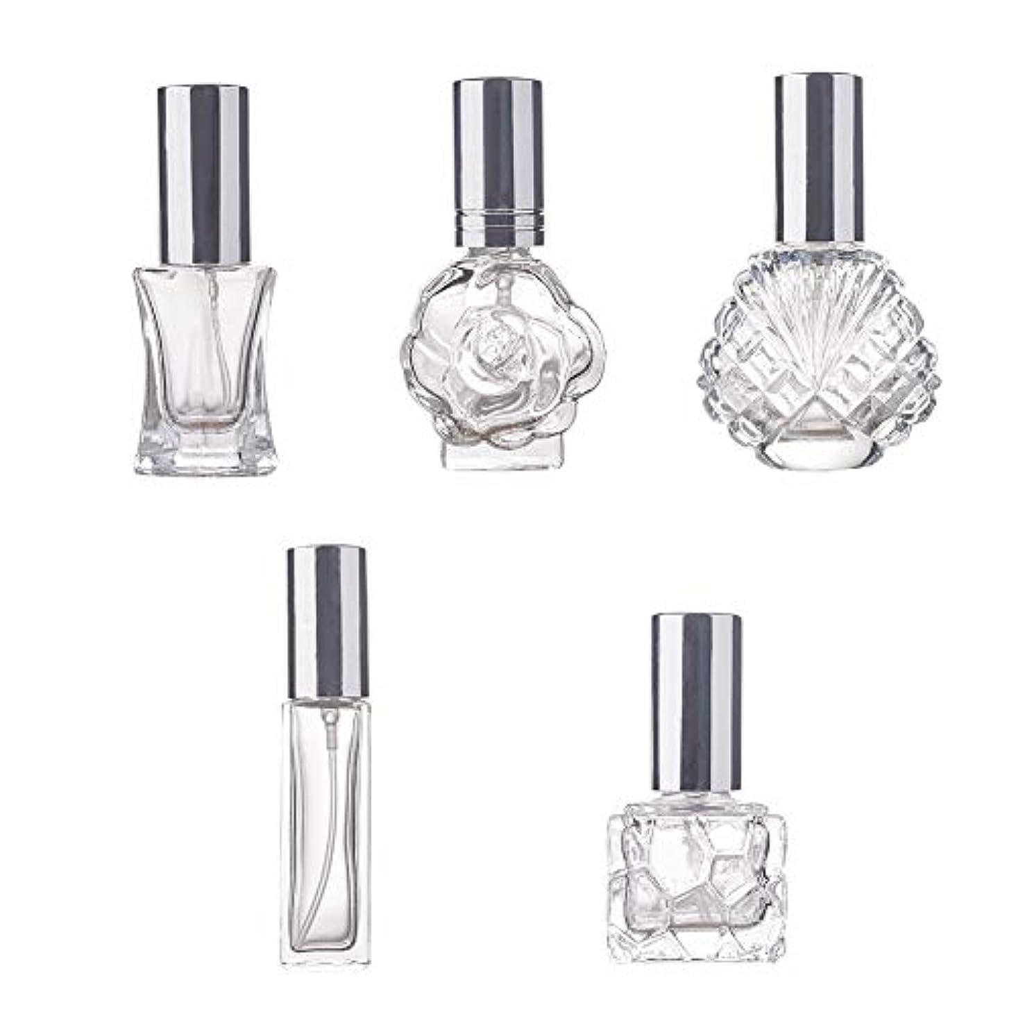 状仕様メイエラBENECREAT 5個ガラス香水スプレーボトル 多種の形 極細ミスト 香水 芳香剤 化粧水小分け 詰め替えボトル