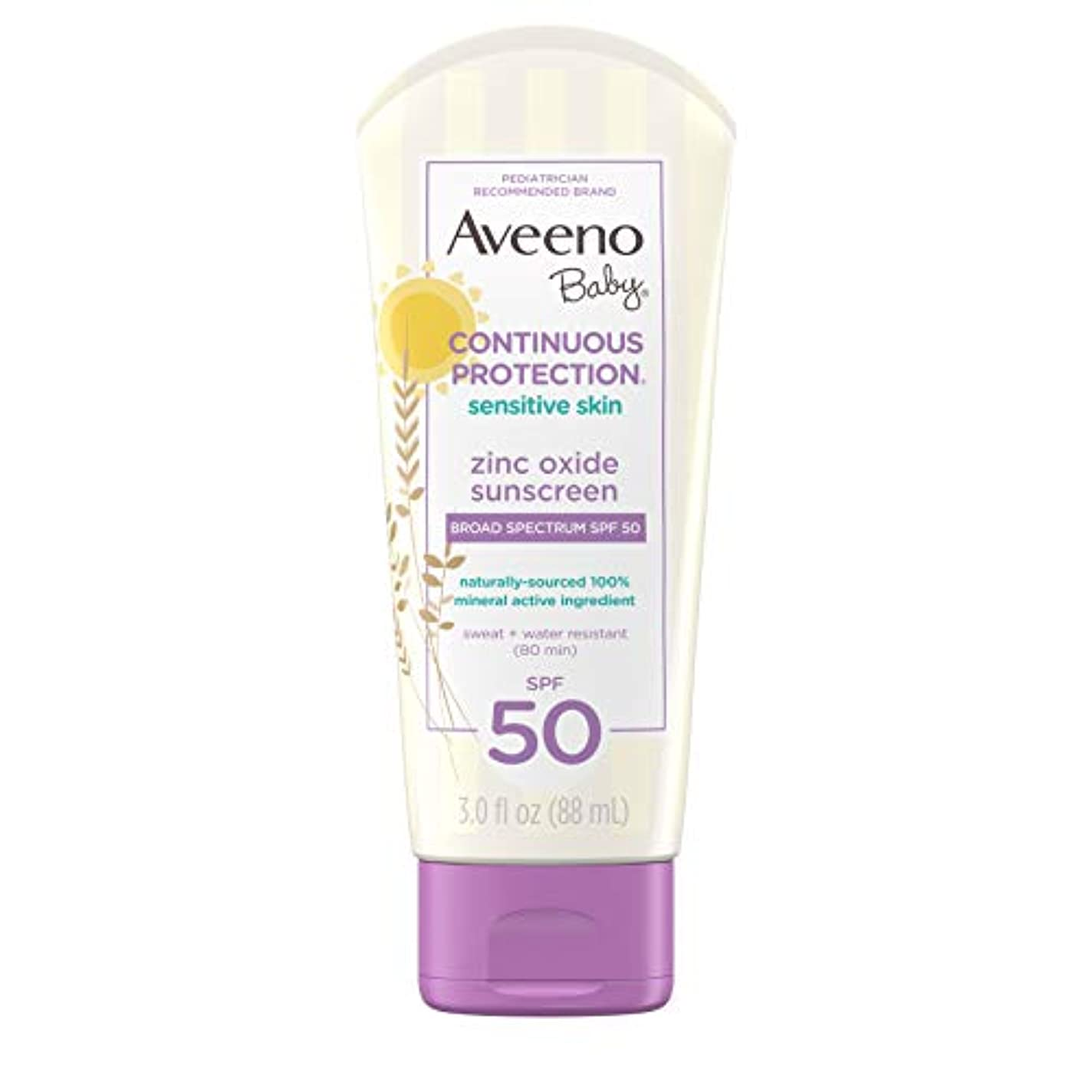 主張するスポンサー有能なAveeno Baby 広域スペクトルのSPF 50、涙フリー、Sweat-&耐水性、旅行、サイズ、3フロリダで敏感肌用のContinuous Protection酸化亜鉛ミネラル日焼け止めローション。オズ