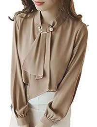 [アミュオン] ブラウス シフォン レディース リボン 長袖 フォーマル 4色展開(白、茶、ピンク、ブルーグレー)