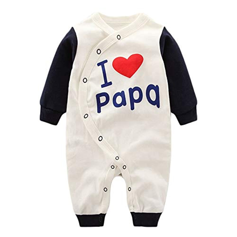 Bebogo ベビー ユニセックスジャンプスーツボディスーツ私はママパパ甘い双子のロンパースが大好き 長袖 ジャンプスーツ ボディスーツ キッズ 赤ちゃん 子供服 新生児 ロンパース 肌着 出産準備