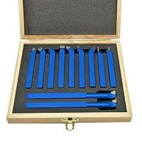 Bibipangstore 11ピース超硬チップチップカッターツールビットカッティングセット用金属旋盤ツーリング溶接タイプ旋盤ビットタングステンカーバイドチップ