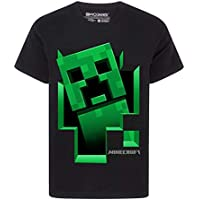 Official Minecraft Creeper Inside Boy's Black T-Shirt