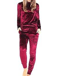 VITryst 女性の柔らかい豪華な純色の服のトップスとパンツのポケット