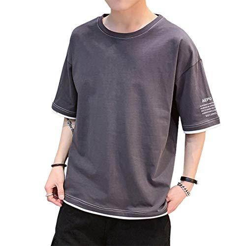 74bed2cba14b64 Tシャツ メンズ 夏服 メンズ 五分袖 丸首 無地 ロングtシャツ 大きいサイズ ゆったり