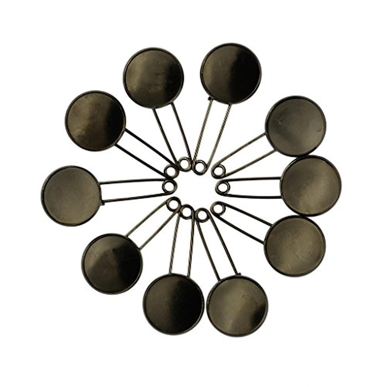 【ノーブランド品】 10個 白抜き 丸い ベゼル カボション ベース DIY ブローチ 安全ピン 黒