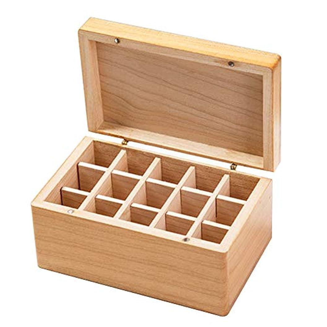 まっすぐ参加者応用収納ボックス木製ジュエリーシンプルネックレスエッセンシャルオイルキャリングトラベルコンテナホームアロマセラピーイヤリングケース15グリッド
