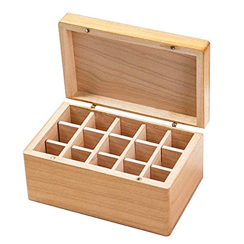 中毒騙す怠けた収納ボックス木製ジュエリーシンプルネックレスエッセンシャルオイルキャリングトラベルコンテナホームアロマセラピーイヤリングケース15グリッド