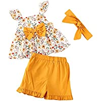 Toddler Baby Girls Clothes Floral Bowknot Tank Top+Ruffle Shorts Pants+Headband 3PCS Summer Outfit Set