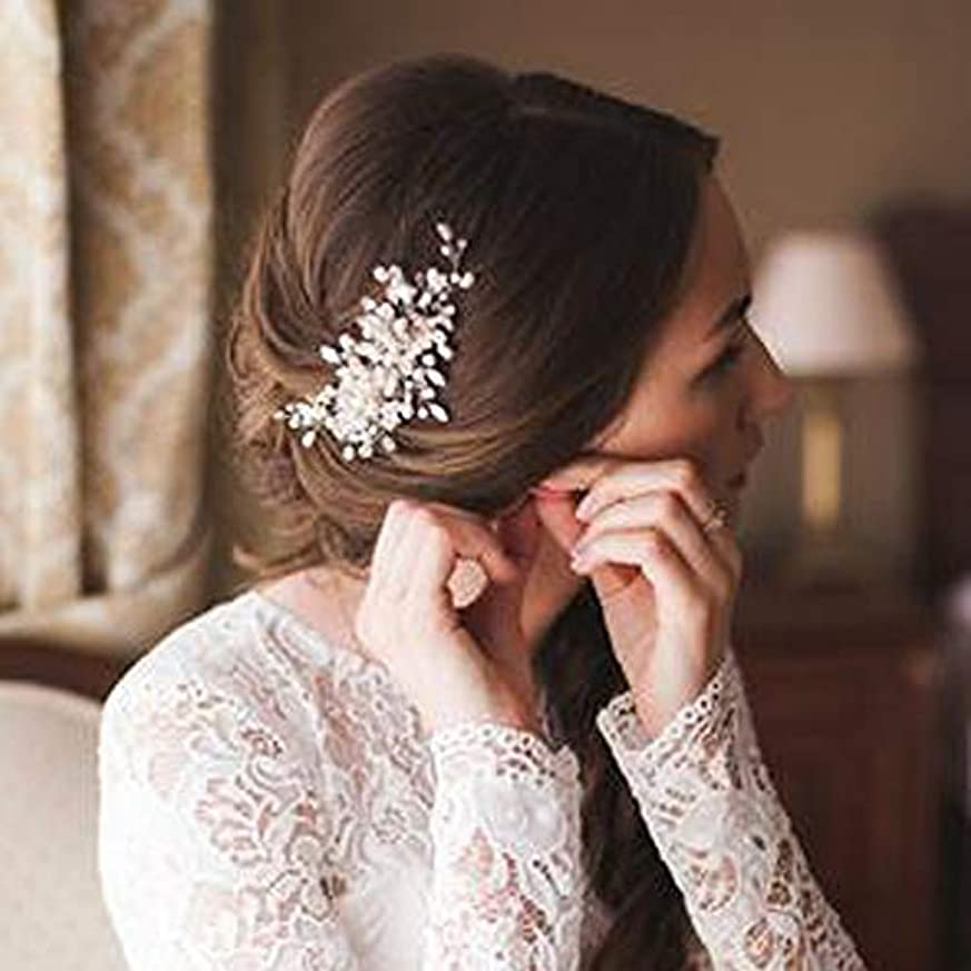症候群病んでいるほぼDeniferymakeup Bridal Pearl Hair Comb Wedding Hair Comb Ivory Headpiece Delicate Pearl Hair Piece Crystal and...