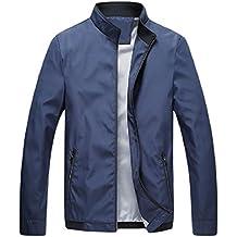 Howme Men's Wild Fit Zipper Relaxed Fit Mandarin Collar Business Coats Jacket