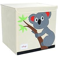 Piccocasa折りたたみ式おもちゃストレージビンSquare Cartoon Animalキャンバスストレージボックス環境に優しいファブリックストレージキューブオーガナイザーの寝室、プレイルーム、蓋グレーコアラパターン13