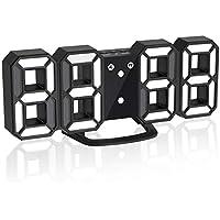Jコートン LEDデジタル時計 3Dデザイン アラーム機能付き 置き時計 壁掛け時計 明るさ調整 日本語取扱説明書付き デジタル時計 (ブラック)