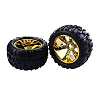Redcat Hsp Kyosho Hobao Hongnor Team Losi GM HPI 1/8 Truggy Monster Truck Rubber Tyre 17mm Hex-Gold用2PCS RCカーホイールリムタイヤ