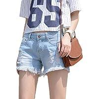 XINHEO Women High-Waisted Jeans Short Hole Loose Burr Hot Pants Shorts