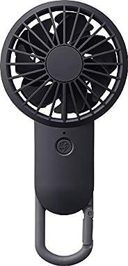 リズム時計工業(Rhythm) 攜帯扇風機 黒 17.7x8.5x3.5cm USBファン 充電式 カラビナ 小型 強力 DCブラシレス 9ZF026RH02