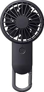 リズム時計工業(Rhythm) 携帯扇風機 黒 17.7x8.5x3.5cm USBファン 充電式 カラビナ 小型 強力 DCブラシレス 9ZF026RH02