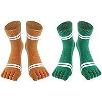 Women's Toe socks Soft Warm Thick Knit Wool Crew Five Finger Socks 2 Pack Sports Fall Winter Socks