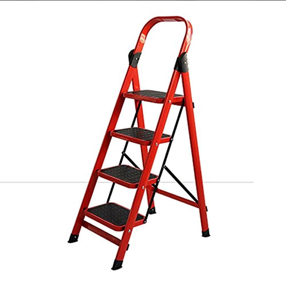 仮定するうがい忙しいZZHF tideng ステップスツールワイドニング4段ラダー厚い屋内多機能ラダーラダーエンジニアリングエスカレーターレッド (色 : Red)