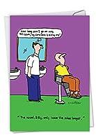 c6181bdg Conscientious Barber :陽気な誕生日グリーティングカードfeaturing a Bald Man at aバーバーショップ、封筒付き。