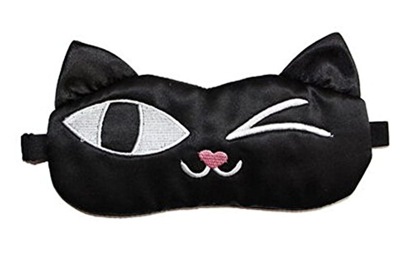 合理化緊張するみなす旅行と昼寝のためのかわいい黒猫ソフトシルクスリープアイマスク弾性アイシェード目隠し