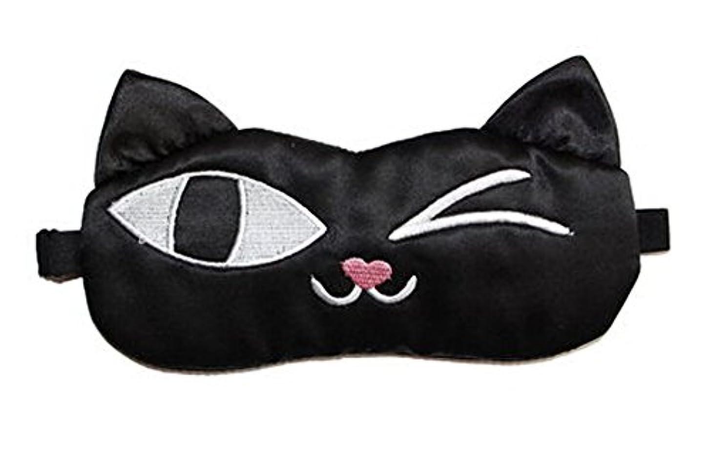 定期的ヘクタールチャレンジ旅行と昼寝のためのかわいい黒猫ソフトシルクスリープアイマスク弾性アイシェード目隠し