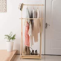 ハンガー - コートラックウッドランディングハンガーベッドルームリビングルームクリエイティブ衣類ラック靴ラック -Home Decor (色 : 木の色)
