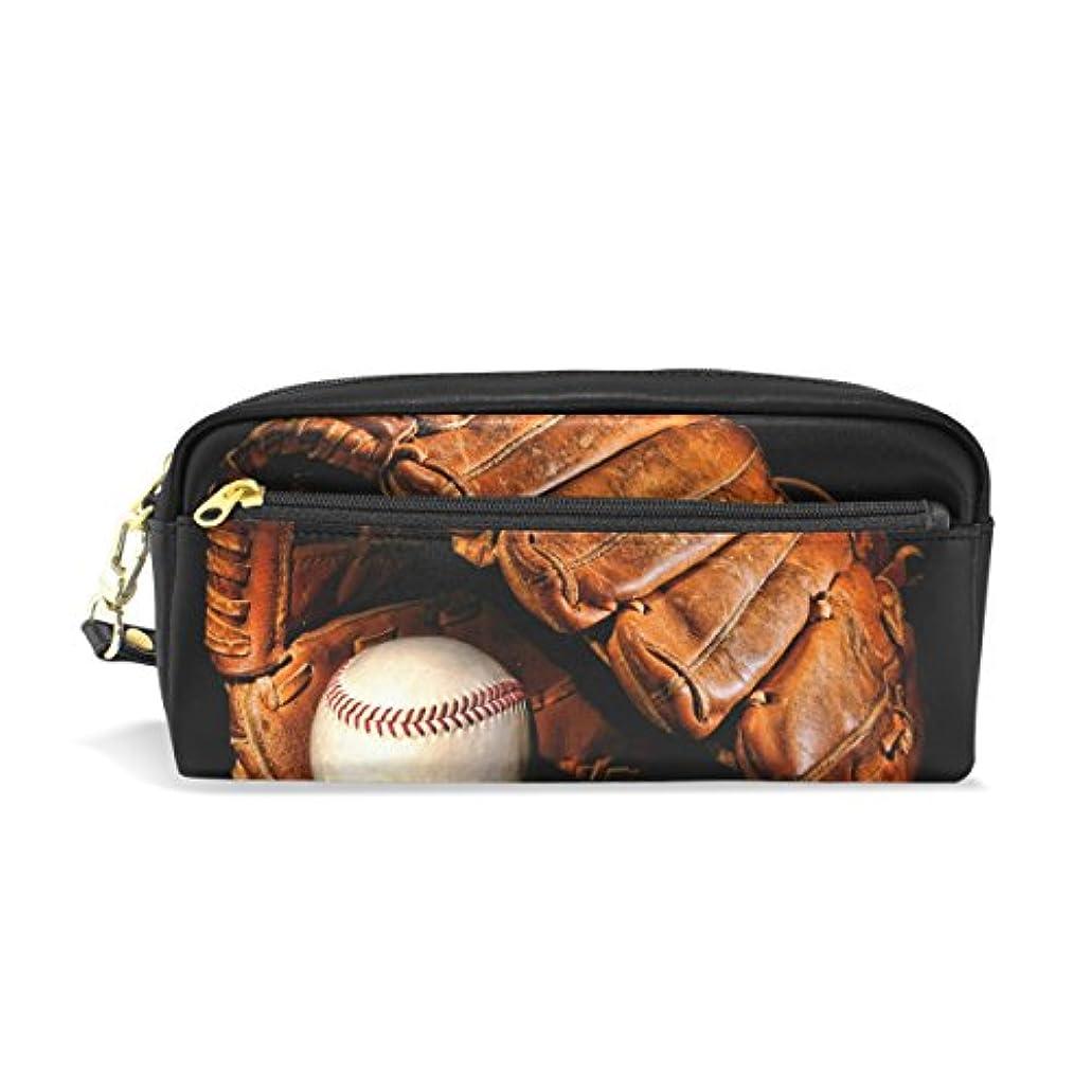 本質的にオーバーコート潤滑するAOMOKI ペンケース 化粧ポーチ 小物入り 多機能 レディース 野球 黒 ボール