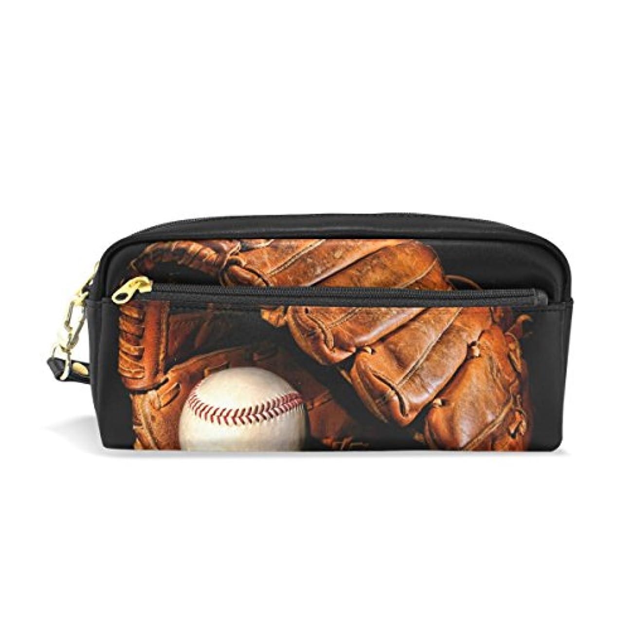ランドマークトロリーバス詩AOMOKI ペンケース 化粧ポーチ 小物入り 多機能 レディース 野球 黒 ボール
