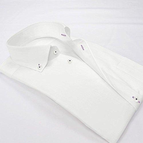 ワイシャツ 軽井沢シャツ [A10KZB810]ボタンダウン カッタウェイ ホワイト80双 色糸使い 形態安定 らくらくオーダー受注生産商品