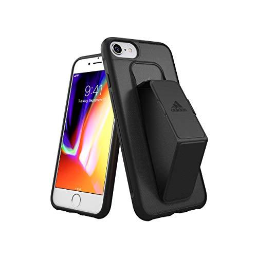 【アディダス公式ライセンスショップ】アディダスパフォーマンス iPhone6/6S/7/8 ケース スタンド機能 グリップバンド付き スポーツ仕様 耐衝撃 軽量 ランニング アウトドア ブラック/グレー [adidas Performance - Grip Case iP6/6S/7/8 - FW18 Black]
