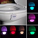 LED Toilet Lights Motion Detection, 8-Color Changing Inside Toilet Bowl Nightlight, Infrared Auto Motion Activated Sensor Sea