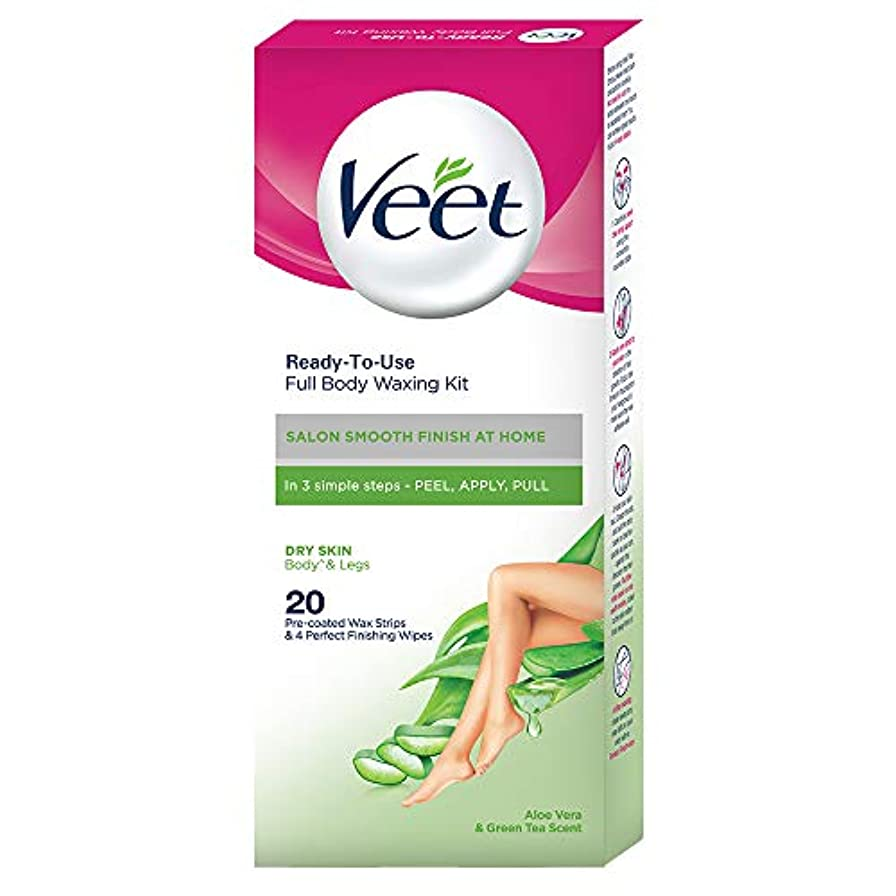 間退屈引き潮Veet Full Body Waxing Kit for Dry Skin, 20 Strips