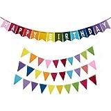 Happy Birthday Banners - 4-Piece Set - Includes 1 Felt Birthday Banner and 3 Felt Pennant Banners - Suitable for Boys Girls Adults - Rainbow Birthday Decoration [並行輸入品]