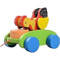 素敵な木製プッシュ&玩具はプル一緒にワゴン車コックプル