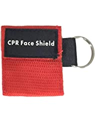 Intercorey 2ピースポータブル応急処置ミニCPRキーチェーンマスク/フェイスシールドバリアキットヘルスケアマスク1-ウェイバルブCPRマスク