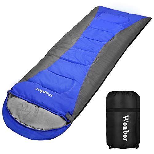 Wonbor 寝袋 シュラフ 封筒型 コンパクト 軽量 車中泊 アウトドア キャンプ 登山 防災用 スリーピングバッグ 1.6kg 防水 快適温度10℃ 丸洗い可能 収納袋付き
