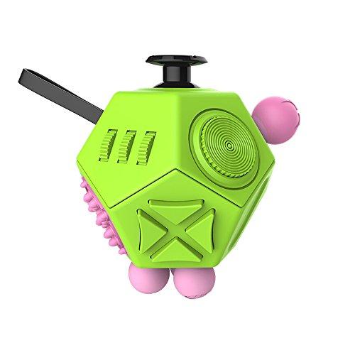 JPDream Fidget Cube ストレスを解消し、ADHDとより強迫性障害の自閉症の大人と子供に焦点を増やします 12-Side Fidget Toys (グリーン)
