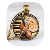 バイオリンペンダント、楽器ネックレス、音楽愛好家ジュエリー、ブロンズ