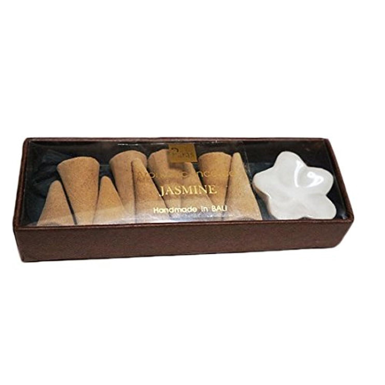 にやにや調子激しいジャスミン お香セット【トコパラス TOKO PARAS】バリ島 フランジパニの陶器のお香立て付き ナチュラルハンドメイドのお香