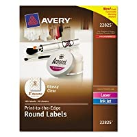 Round Print-to-the-Edge Labels 2 Dia. Glossy Clear 120/Pack Sold as 120 Each [並行輸入品]