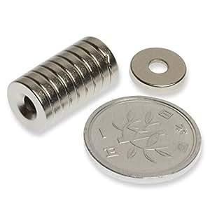 磁石 小型 強力 ネオジム ネオジウム マグネット/丸型皿穴付き 10mm×2mm ネジ穴3mm(10個)