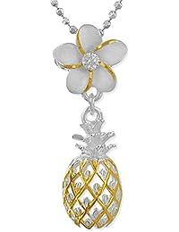 [ハワイアン シルバー ジュエリー] Hawaiian Silver Jewelry プルメリア × パイナップル ネックレス ジルコニア付き イエローゴールド トーン シルバー925 [インポート]