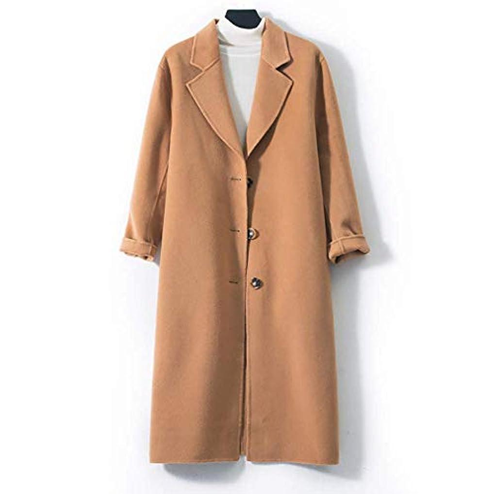 郊外生まれペックロングウールコート、両面ウールコートレディース大きいサイズの婦人服レディースジャケットレディースコートレディースウインドブレーカージャケット,ブラウン,S