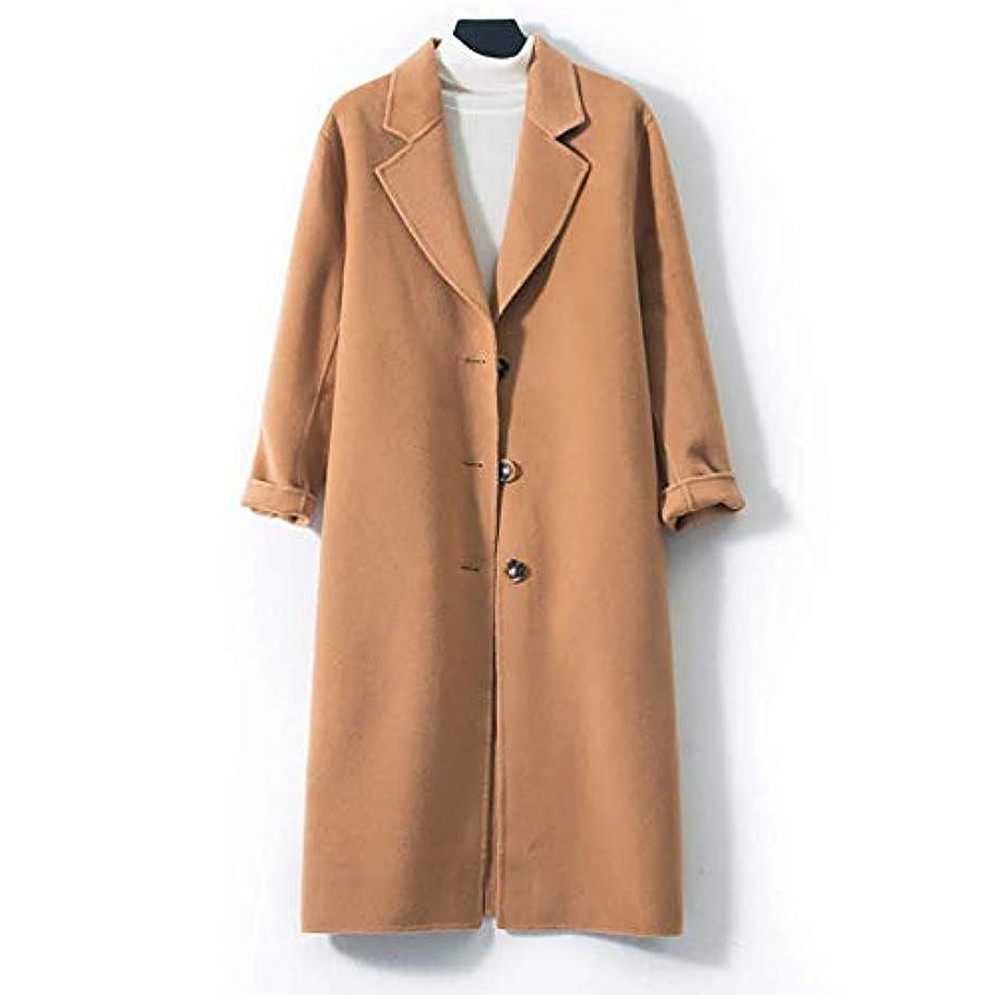 不運請願者強風ロングウールコート、両面ウールコートレディース大きいサイズの婦人服レディースジャケットレディースコートレディースウインドブレーカージャケット,ブラウン,S