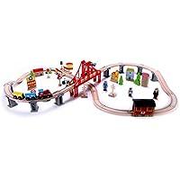 木製トレインセット – 70 PC – クラシックトイトレイントラック&アクセサリー、磁気Train Cars For Toddlers &古い子供 – 互換性W/トーマスタンクエンジン、Melissa & Doug、Brio、Chuggintonトレインセット